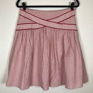 Anthropologie Viola red white seersucker skirt 4